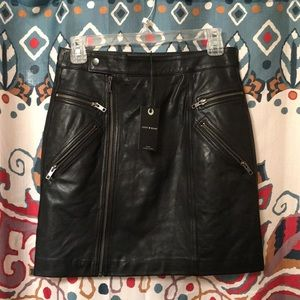 Lucky Brand REAL Leather Moto Skirt